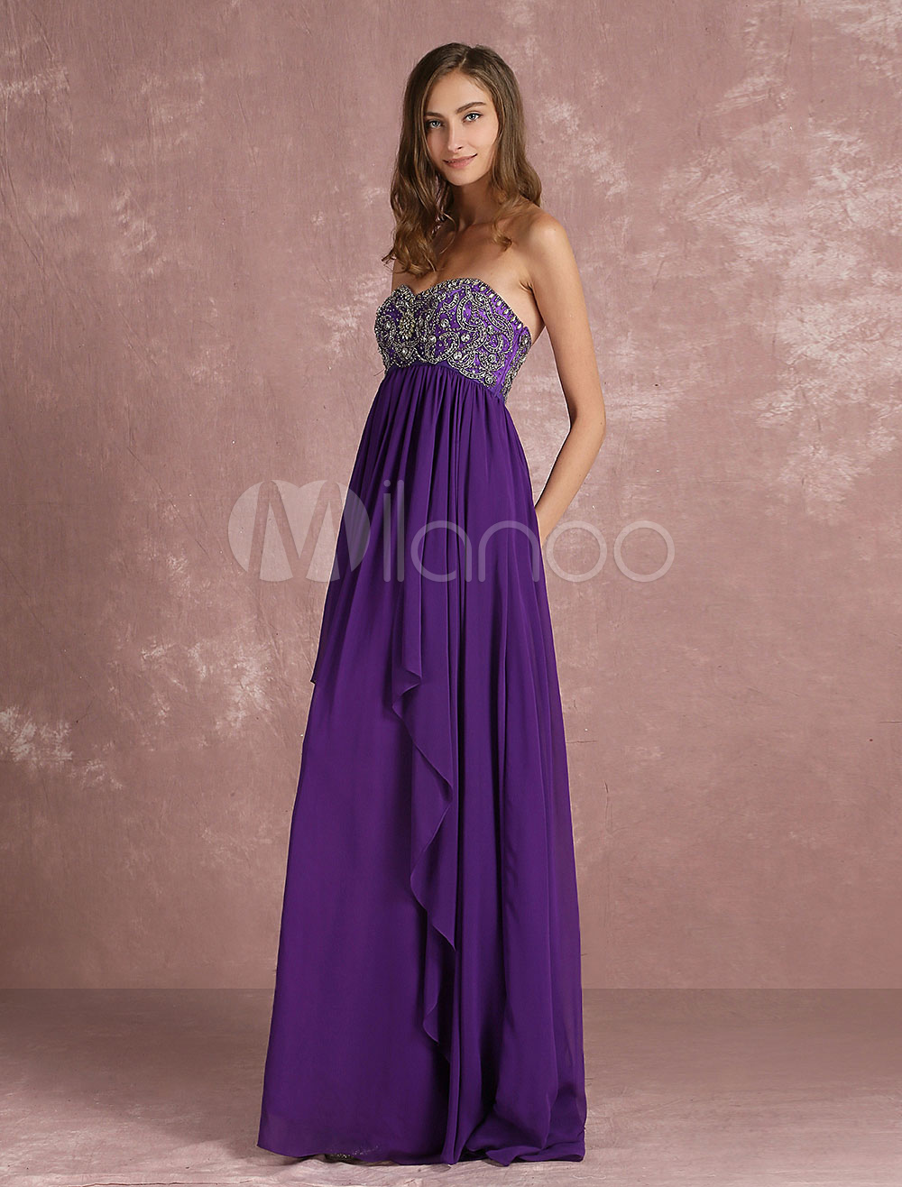 Buy Lavender Prom Dress Chiffon Rhinestones Beaded Occasion Dress Strapless Sweetheart Sleeveless Pleated A Line Floor Length Party Dress for $180.89 in Milanoo store