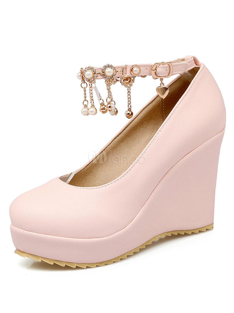 Zapatos de tacón de cuña de tacón de cuña con cinta en la tobillera de puntera redonda de PU Color liso con perlas estilo moderno Zx2sB9j9hh