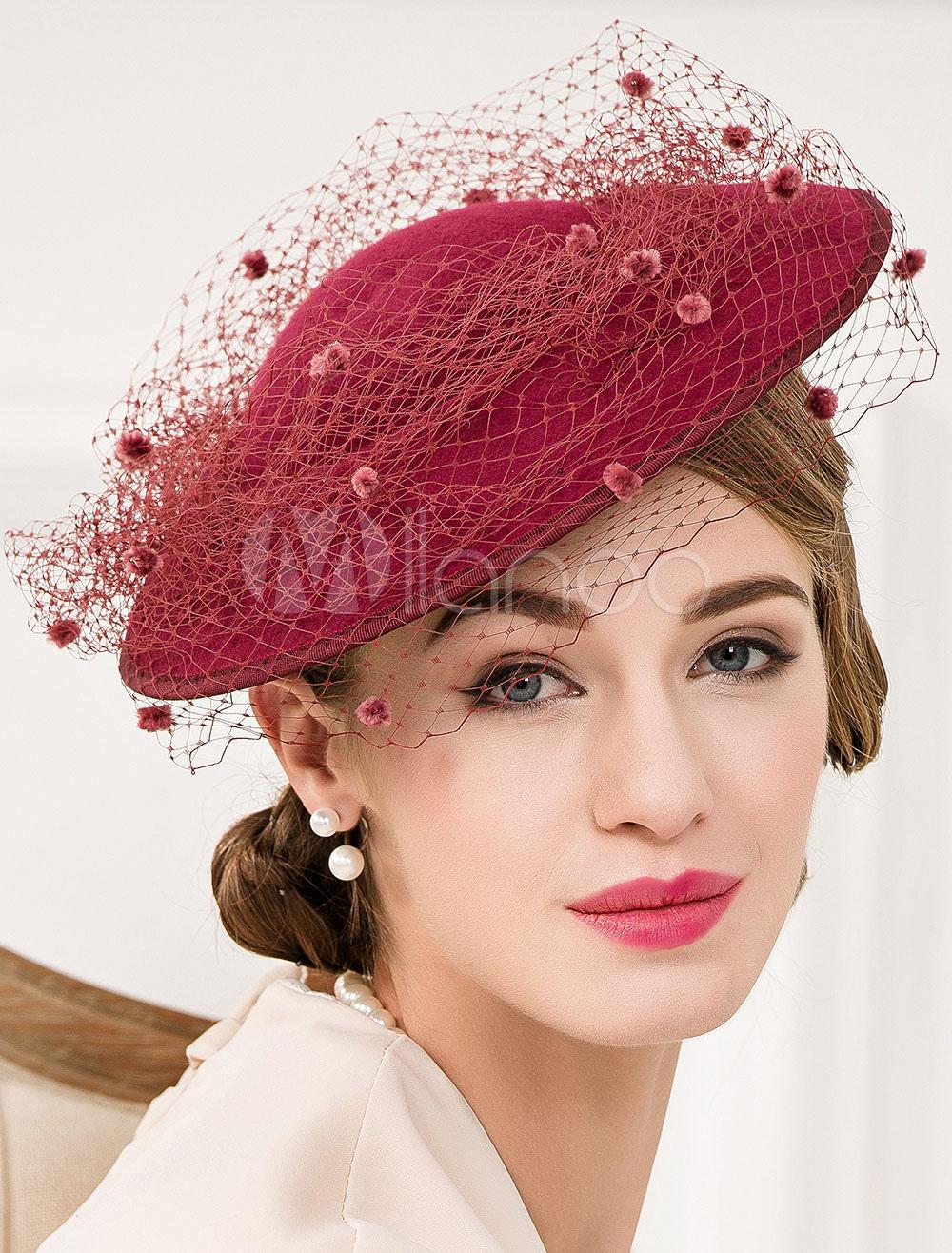 e4bfa1364 Burgundy Wool Fascinator Net Flowers Beaded Vintage Flapper Headpiece Hat  Halloween