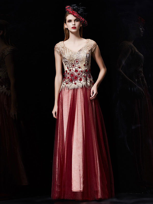 Buy Sequin Evening Dress Tulle Mother Dress Burgundy Flower Embroidered Beading V Neck Cap Sleeve A Line Maxi Wedding Guest Dresses for $221.39 in Milanoo store