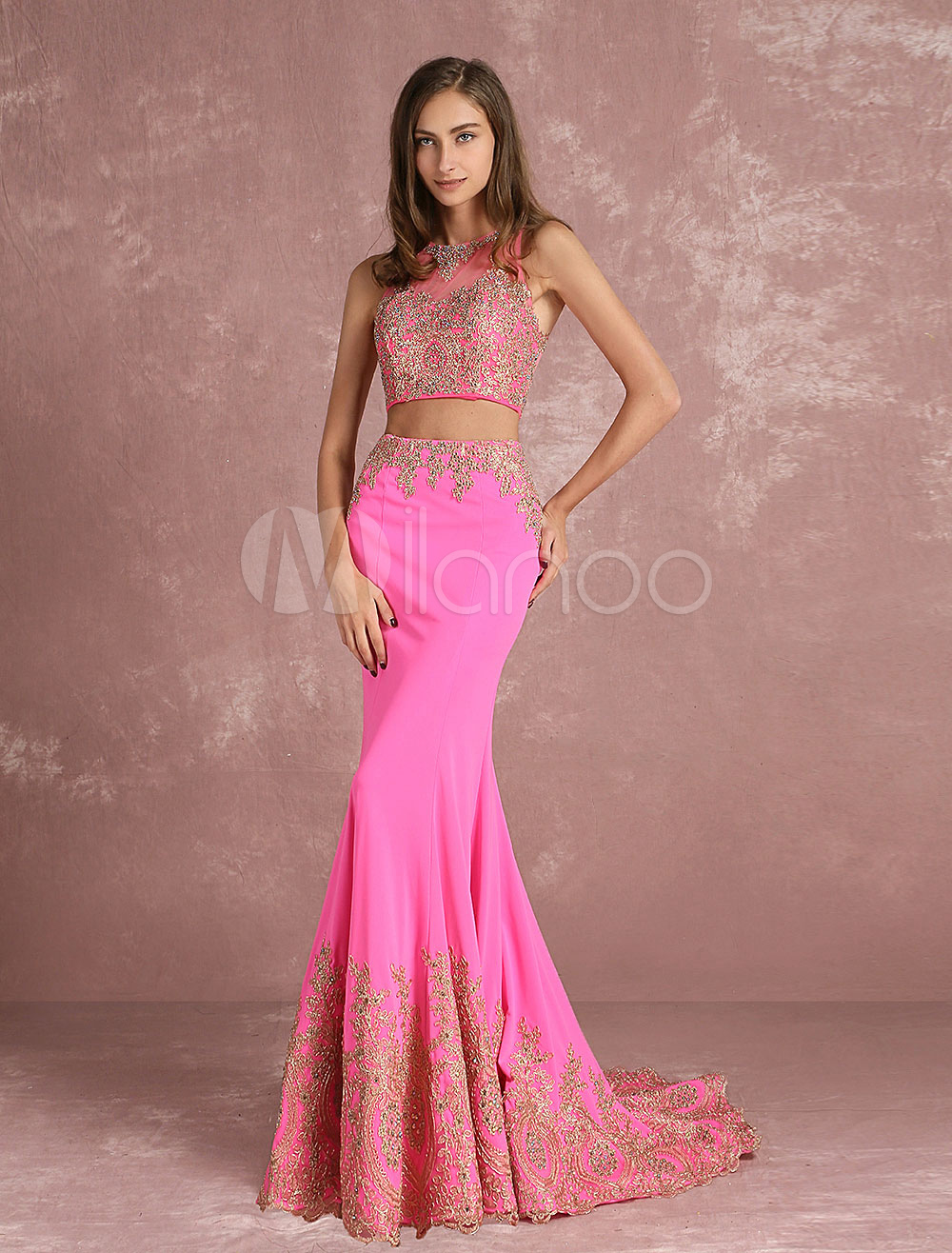 Two Piece Prom Dress 2018 Long Pink Crop Top Mermaid Evening Dress ...
