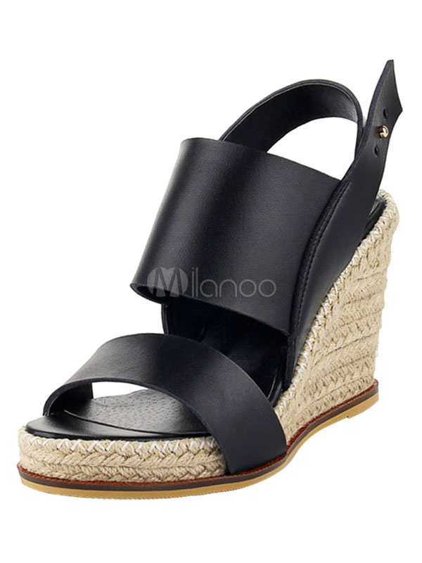 Buy Women Wedge Sandals 2018 Black Cowhide Open Toe Slingbacks Sandal Shoes for $50.34 in Milanoo store