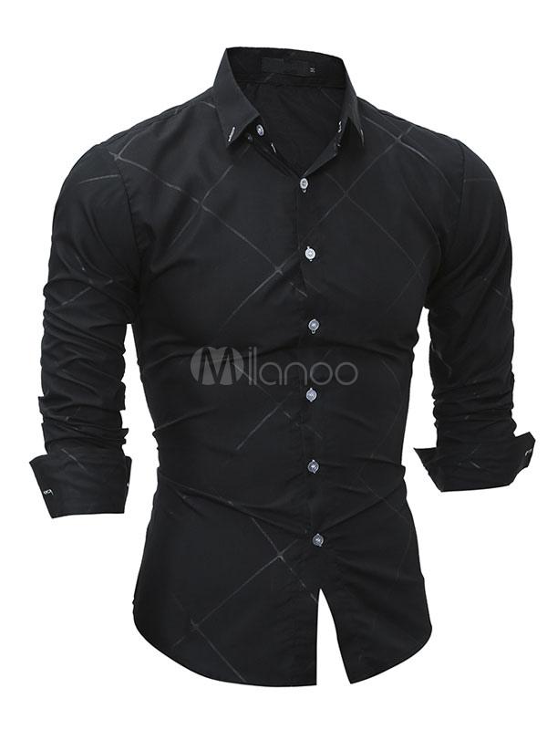Men's Casual Shirt Plaid Embossed Turndown Collar Long Sleeve Slim Fit Shirt