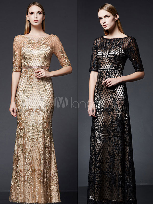 Buy Sequin Evening Dress Mermaid Mother Dress Bateau Neckline Half Sleeve V Back Embroidered Floor Length Wedding Guest Dresses for $201.59 in Milanoo store