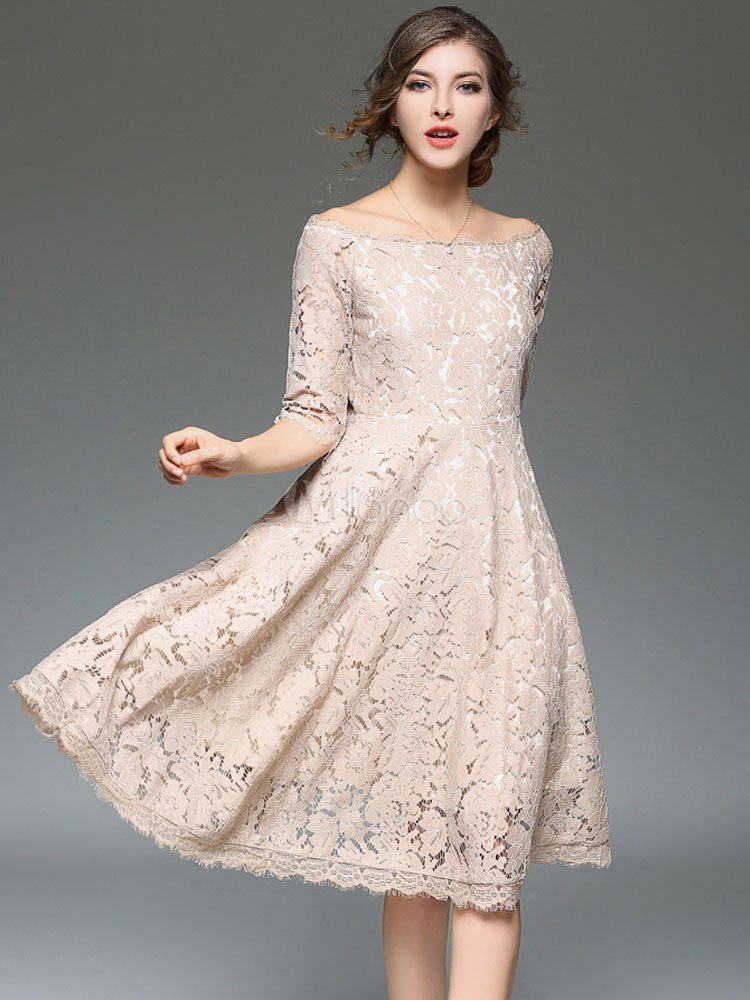 Buy Women Lace Dress Off Shoulder A Line Half Sleeve Spring Swing Dress for $44.99 in Milanoo store