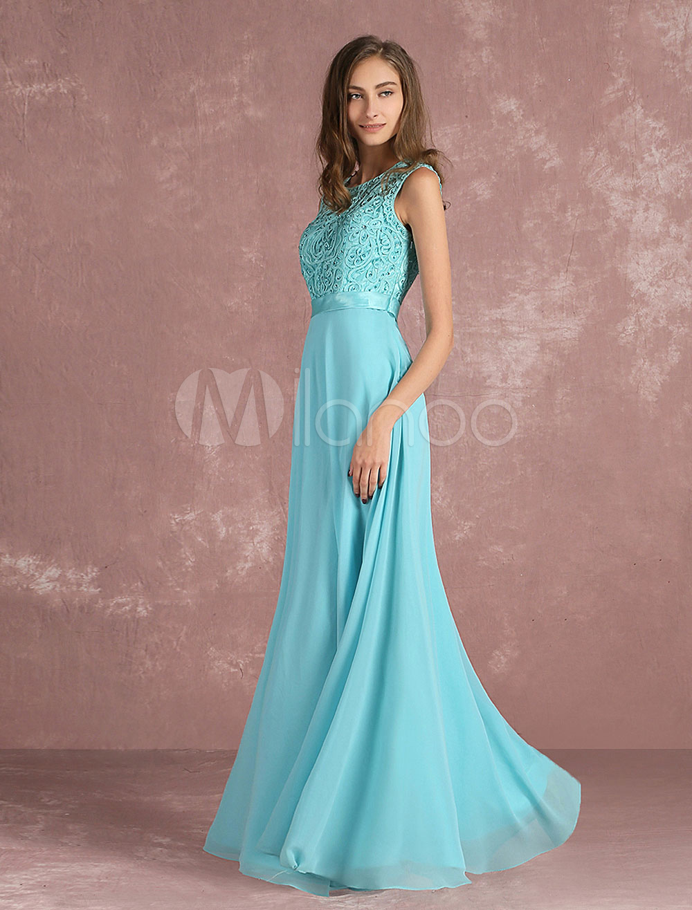 Turquoise Evening Dress Chiffon Beading Prom Dress Jewel Sleeveless Pleated A Line Floor Length Party Dress