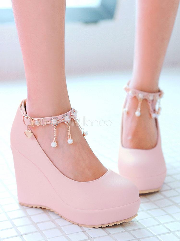 Zapatos de tacón de cuña de tacón de cuña con cinta en la tobillera de puntera redonda de PU Color liso con perlas estilo moderno jjBM6