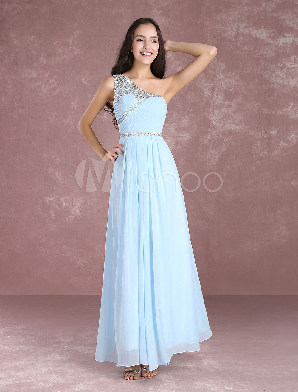 83b8c0555512 ... Long Prom Dresses 2019 Pastel Blue One Shoulder Bridesmaid Dress  Chiffon Beading Floor Length Party Dresses ...