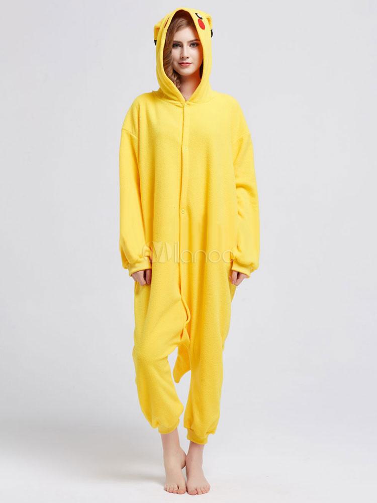 ... Kigurumi Pajamas Pikachu Onesie Yellow Pokemon Fleece Flannel Pajamas  For Adult Halloween-No. ... 7ece244e3eb3