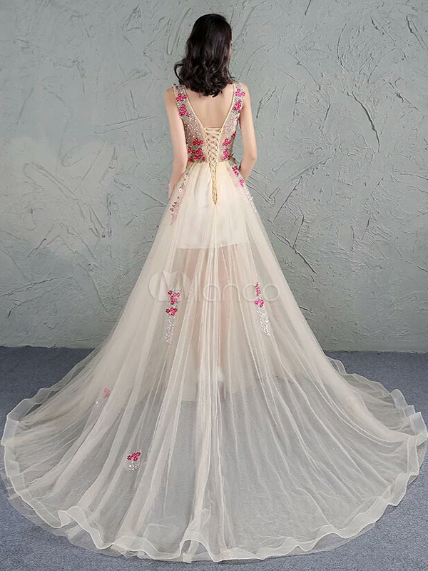 Champagne Prom Dress Illusion Lace Applique Occasion Dress Tulle Jewel Sleeveless A Line Chapel Train Party Dress