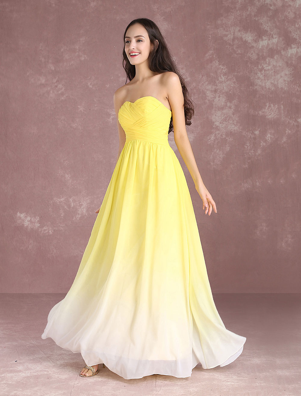 Buy Long Bridesmaid Dress Chiffon Strapless Sweetheart Sleeveless Prom Dress Yellow Pleated Floor Length Party Dress for $106.24 in Milanoo store
