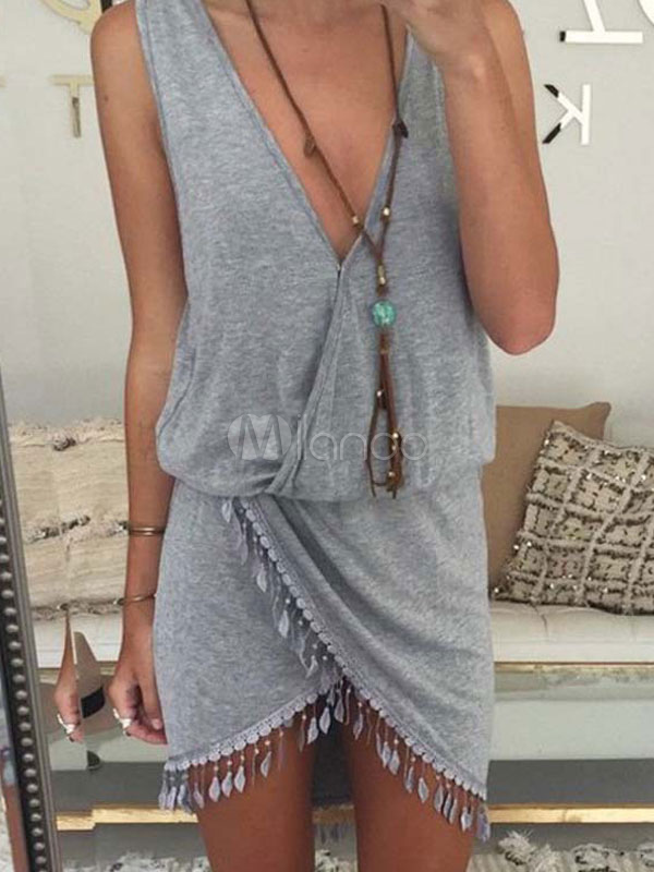 Buy Gray Cotton Blend Wrap Summer Dress for Women for $17.99 in Milanoo store
