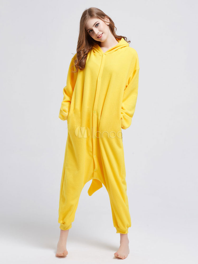 be1251ee98fc ... Kigurumi Pajamas Pikachu Onesie Yellow Pokemon Fleece Flannel Pajamas  For Adult Halloween-No. ...