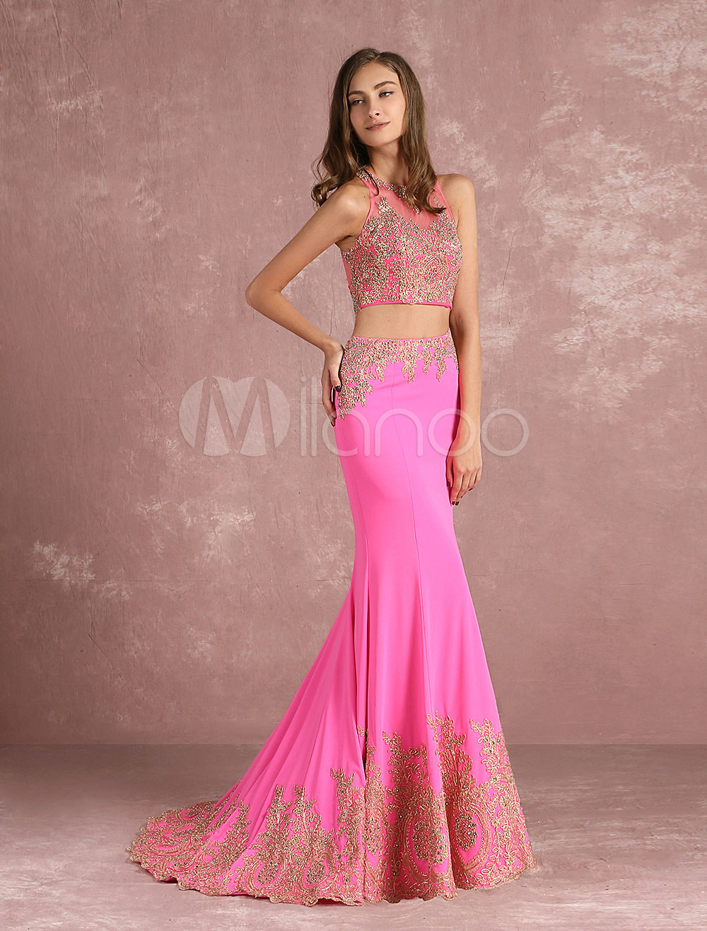 Buy Two Piece Prom Dress 2018 Long Pink Crop Top Mermaid Evening Dress Illusion Lace Applique Beading Party Dress With Train for $152.99 in Milanoo store