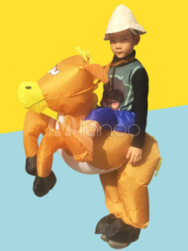 Buy Piggy Back Ride Costume Kids' Yellow Pony Carrier Carnival Inflatable Suit Halloween for $41.99 in Milanoo store