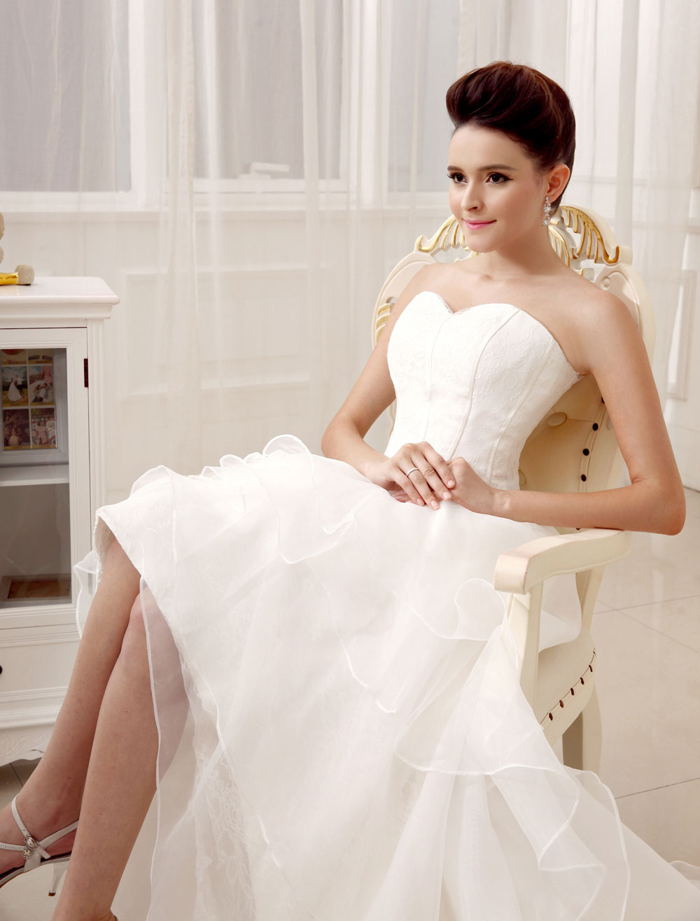 d7247030c4e ... Ivory A-line Sweetheart Neck Strapless Tiered Bridal Wedding Gown-No.5  ...