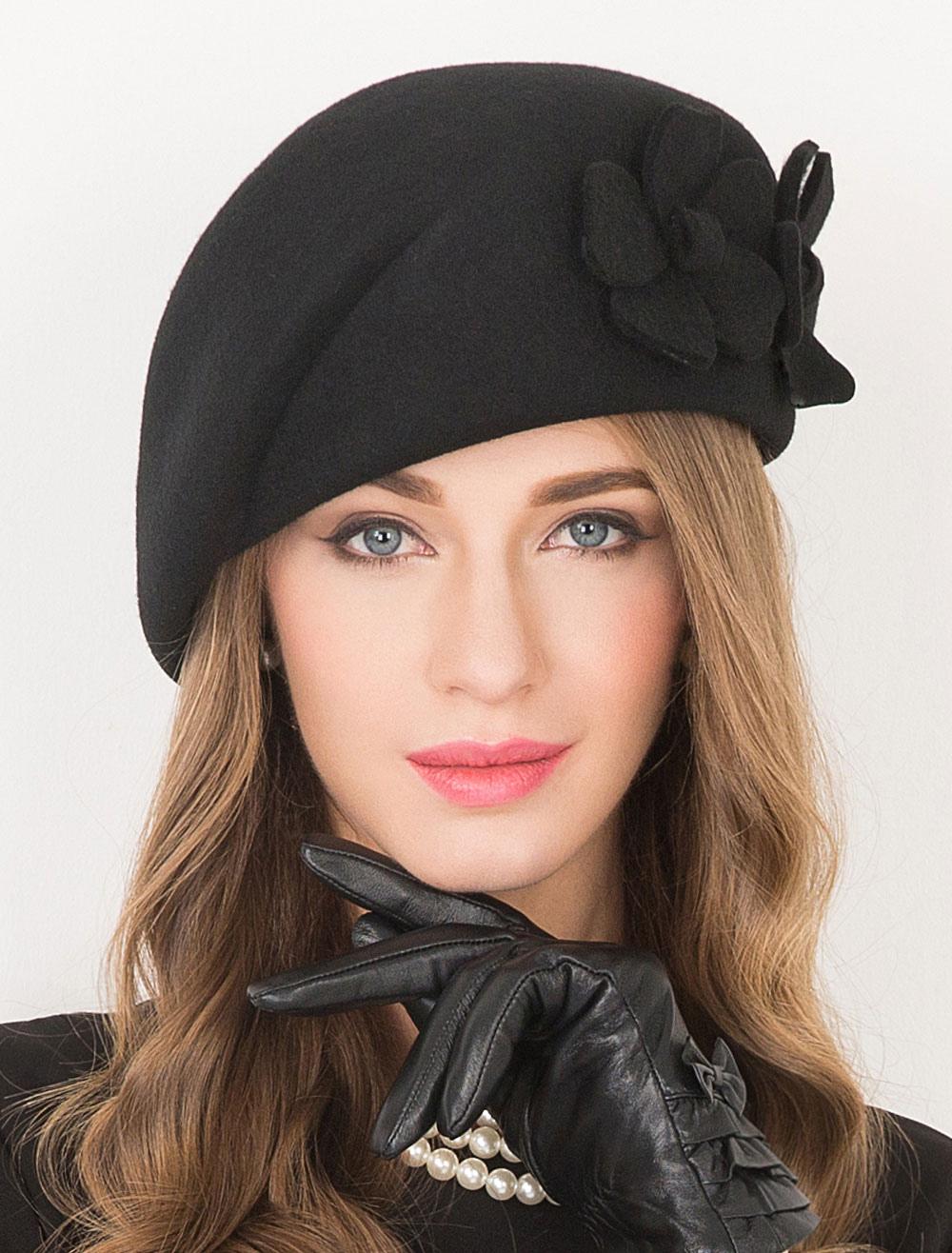 Berretto nero lana fiori eleganti Flapper Costume Cappello donna  Carnevale-No.1 ... 294d28b861c0
