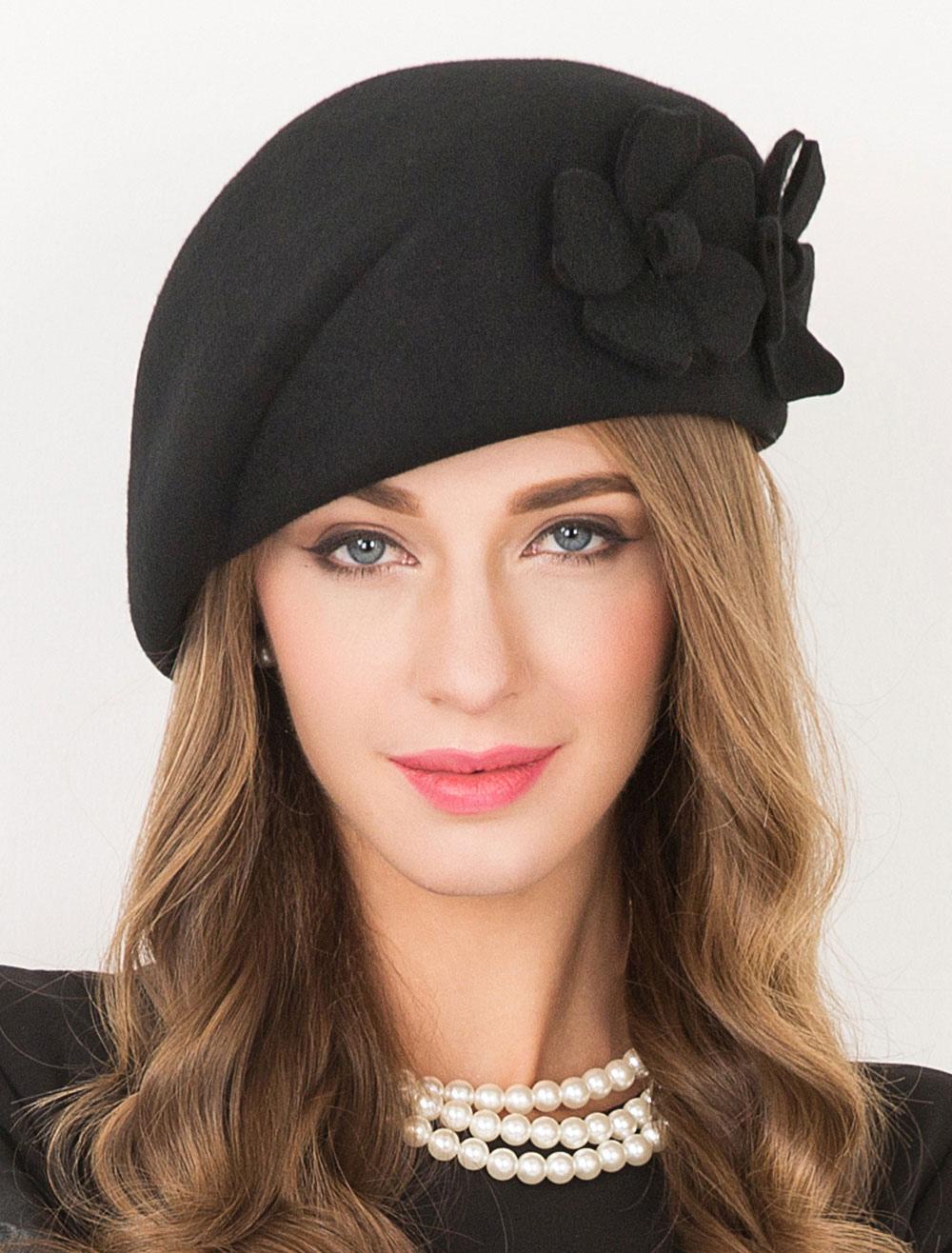 ... Women s Black Beret Wool Flowers Elegant Flapper Costume Hat ... e810daec48