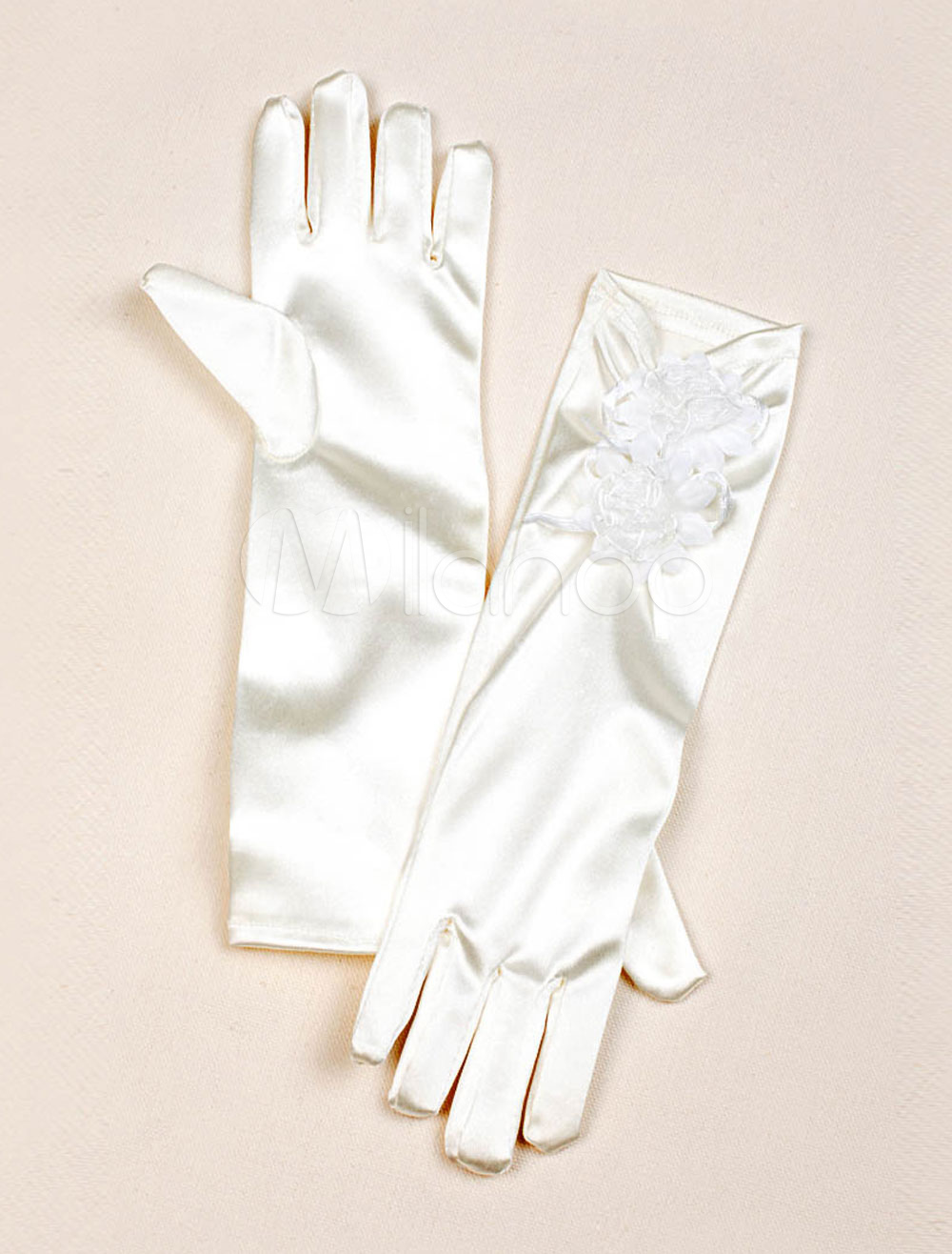 Satin Flower Girl Gloves Ivory Lace Flower Detail Pleated Long Wedding Gloves