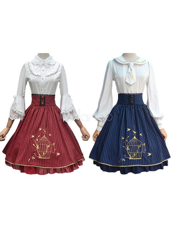 Vintage Lolita Dress SK Burgundy Striped High Waist Embroidered Birdcage Ruffle Chiffon Lolita Skirt