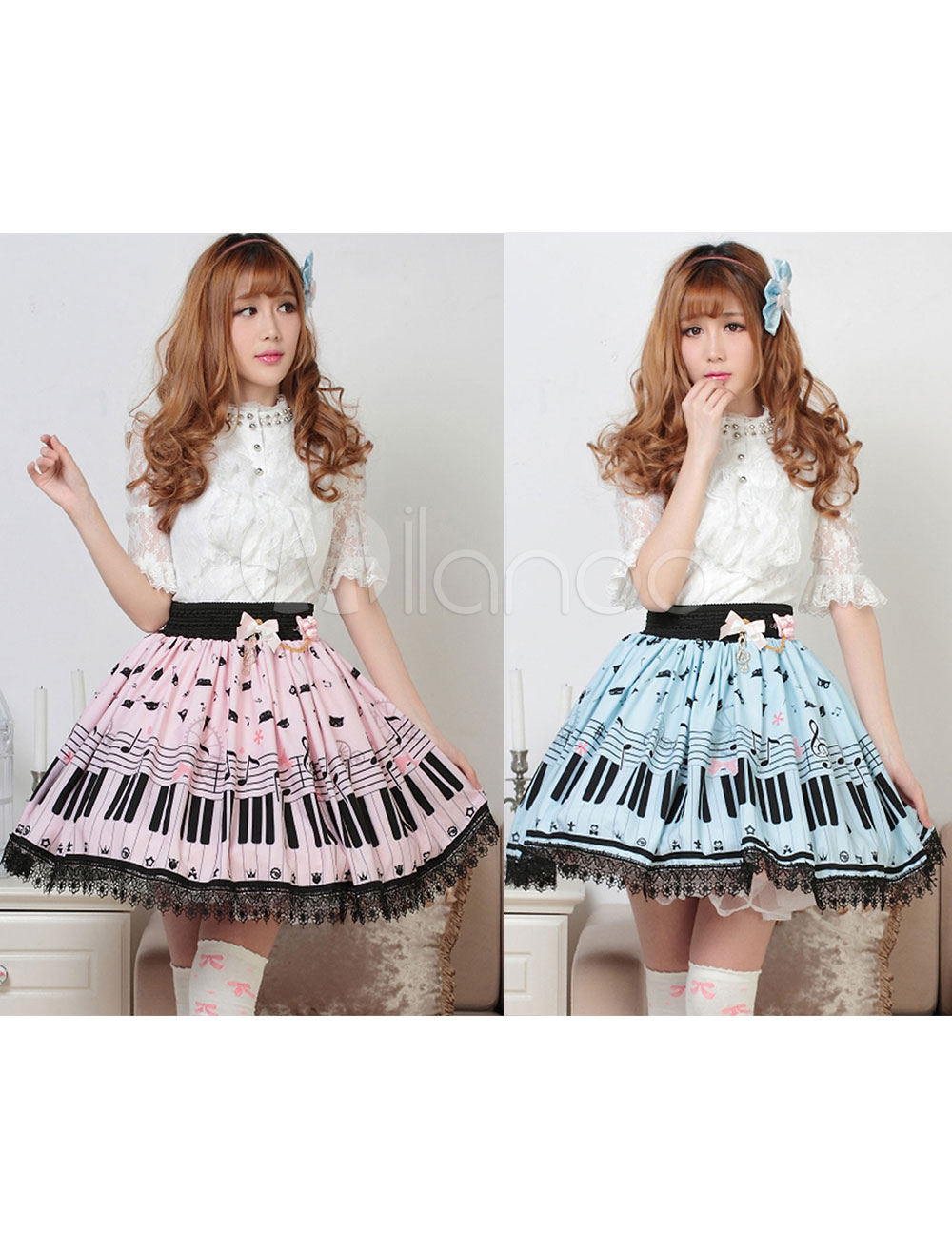 Sweet Lolita Skirt The Cat On The Piano Keys SK Lolita Skirt