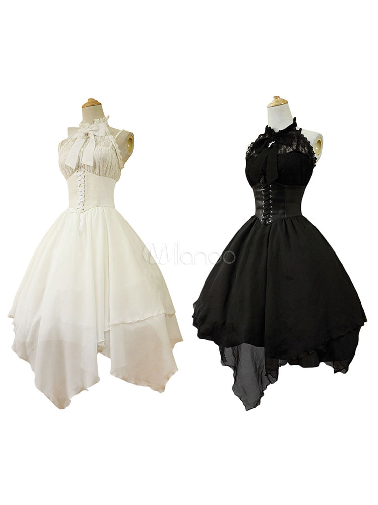 Buy Gothic Lolita Dress JSK The Dawn White Chiffon Lace Bow Haltered Lace Up Irregular Lolita Jumper Skirt for $114.29 in Milanoo store