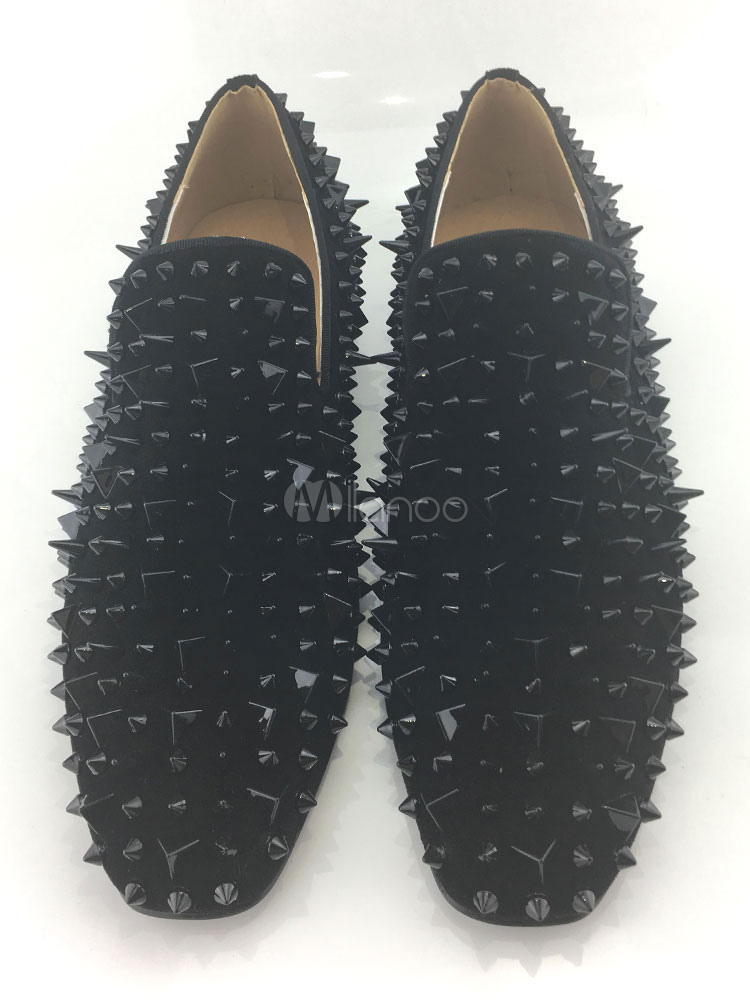 Buy Suede Men Loafers 2018 Black Spike Shoes Flat Round Toe Slip On Homecoming Shoes for $76.49 in Milanoo store