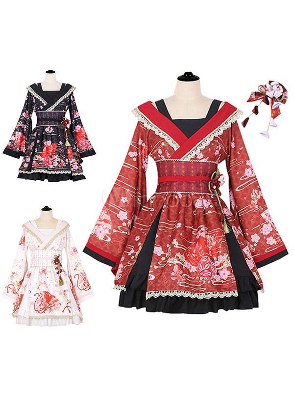 Wa Lolita OP One Piece Dress Sakuran Gorgeous Lace Trim Pleated Square Neck Long Sleeve Dress