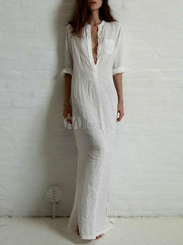 Wunderbar Weißes langes Kleid Deep-V- Ausschnitt Blusenkleid Damen mit  WM74