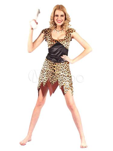 Buy Women's Halloween Costume Native American Themed Deep U Neck Leopard Printed Sexy Bodycon Mini Costume Dress Halloween for $14.99 in Milanoo store