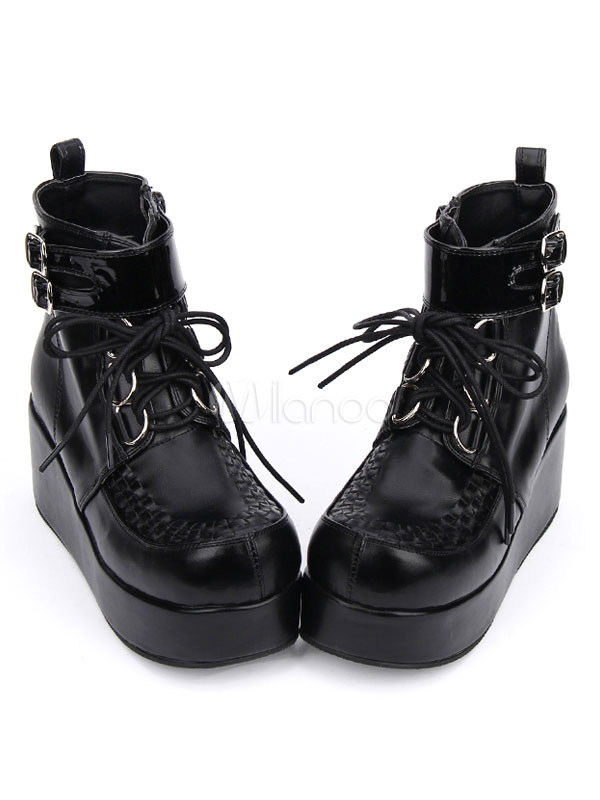 Buy Gothic Lolita Shoes Black Platform Wedge Lace Up Lolita Boots for $55.99 in Milanoo store