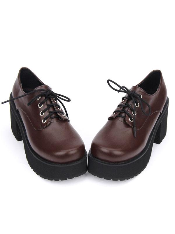 Zapatos de lolita de PU Color liso negros estilo street wear de puntera redonda TWm3wOURF