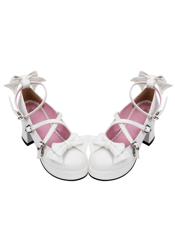 Buy Sweet Lolita Shoes White Bow Cross Front Ankle Strap Chunky Heel Lolita Pumps for $83.99 in Milanoo store