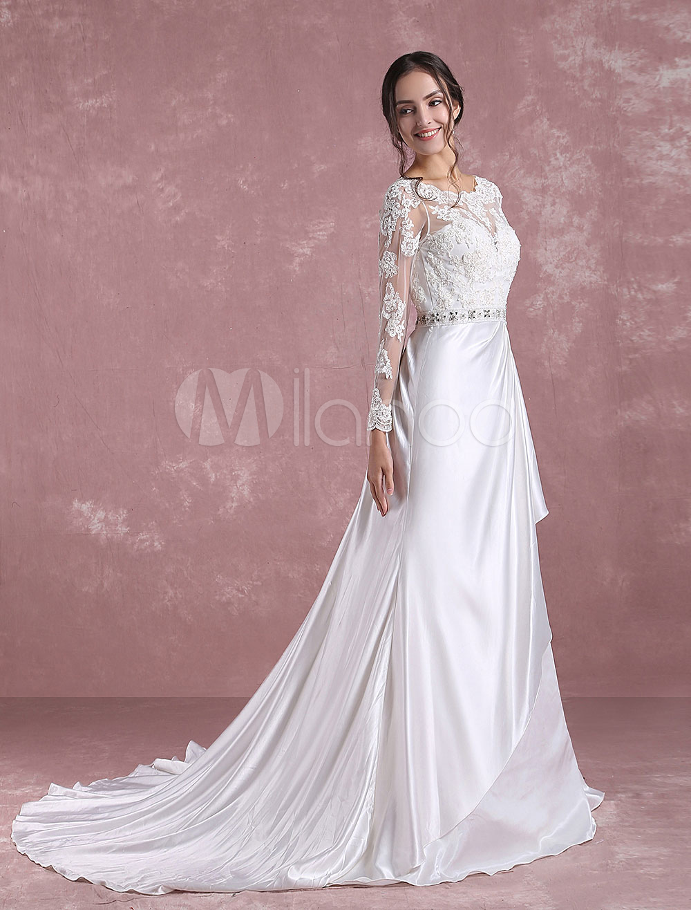 Buy Lace Wedding Dress Ivory Long Sleeve Bridal Dress Backless Satin Sweetheart Applique Beading Sash A Line Bridal Gown With Chapel Train for $252.89 in Milanoo store