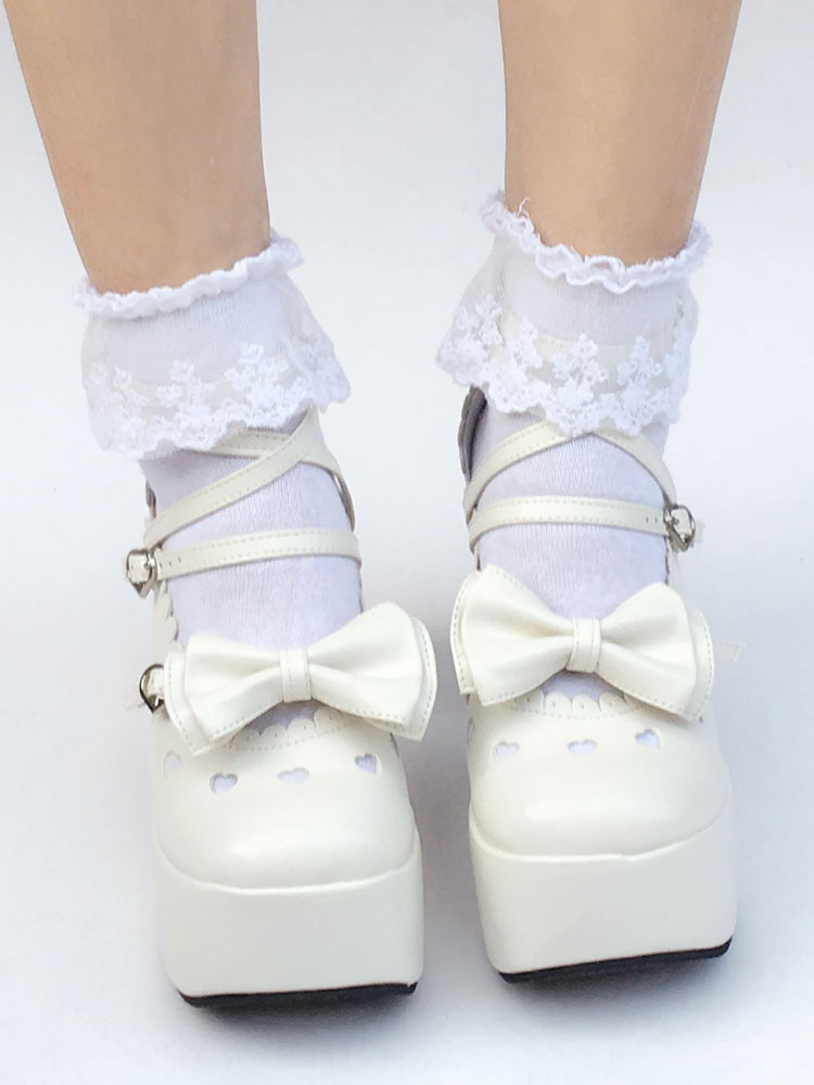 Buy Sweet Lolita Shoes White Bow Round Toe Platform Straps Lolita Pumps for $68.99 in Milanoo store