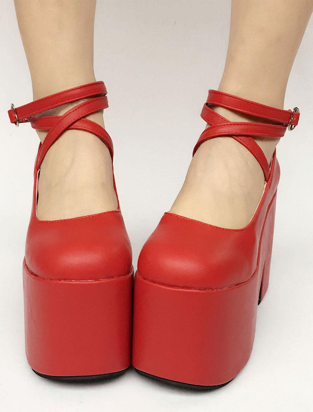 Red Lolita Shoes Sweet Platform Straps Lolita Pumps