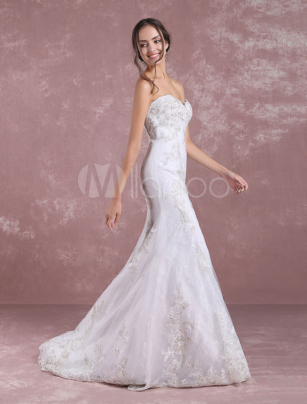 Summer Wedding Dresses 2018 Mermaid Lace Bridal Dress Ivory Sweetheart Strapless Applique Bridal Gown With Train