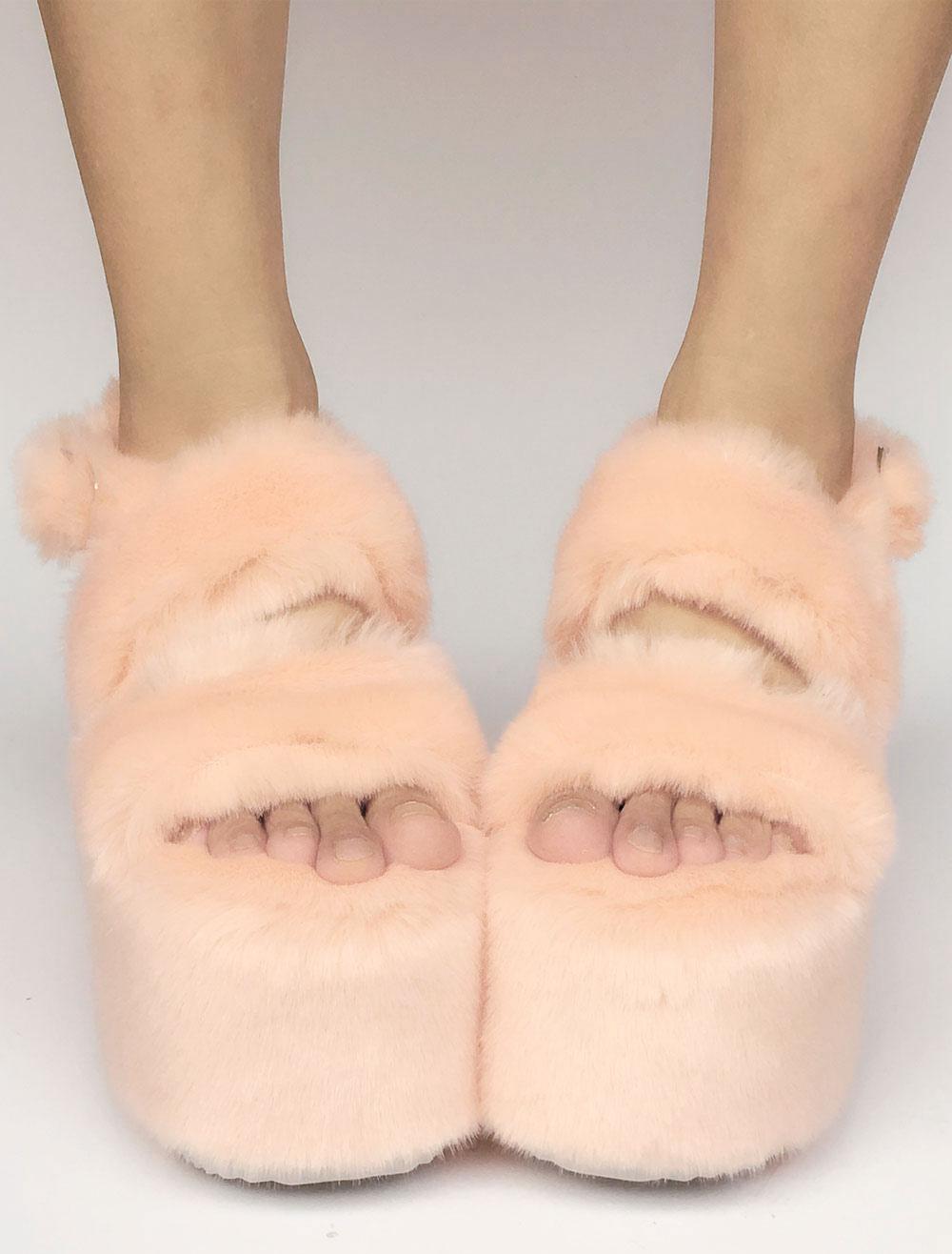 Sweet Lolita Shoes Peach Faux Fur Platform Open Toe Wedge Lolita Sandals