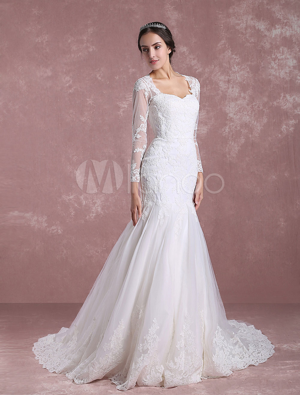 Mermaid Wedding Dress Long Sleeve Bridal Dress Lace Applique Anne Queen Collar Cut Out Back Bridal Gown With Chapel Train