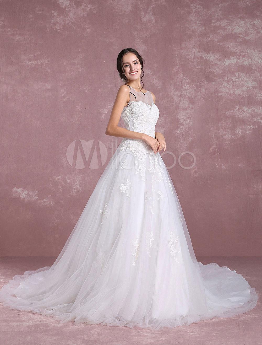 Tulle Hochzeitskleid Elfenbein Brautkleid Schatz Illusion Spitze ...