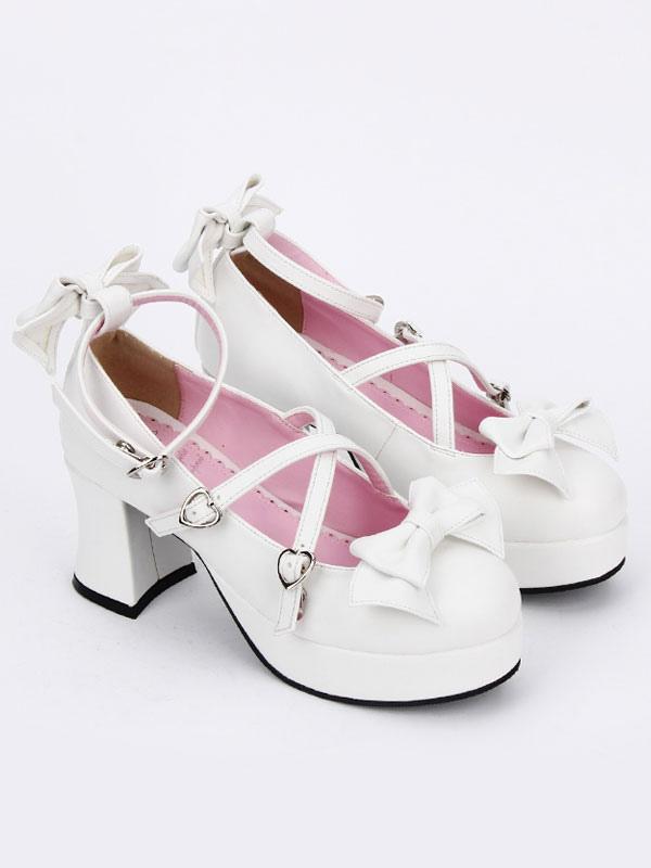 Zapatos de lolita de PU de puntera redonda con lazo blancos estilo street wear fp0O2qc4e