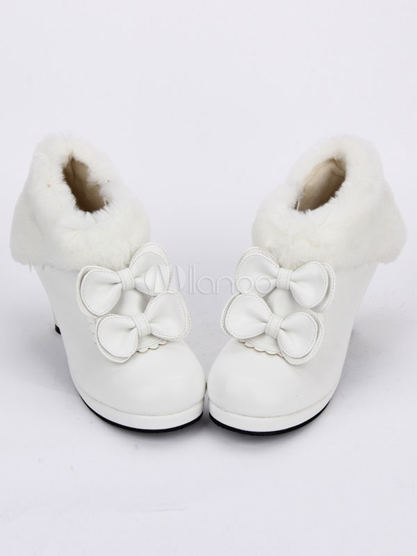 Buy Sweet Lolita Shoes White Faux Fur Bow Round Toe Lolita Boots for $58.99 in Milanoo store