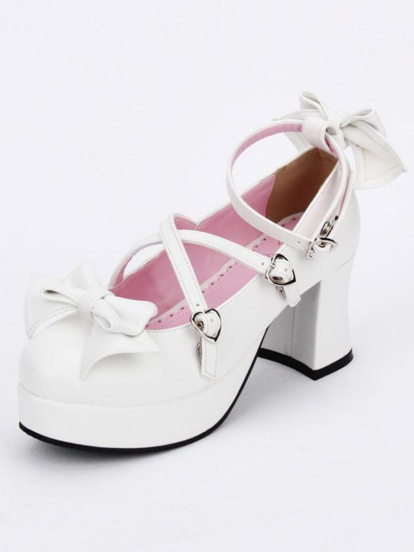 Zapatos de lolita de PU de puntera redonda con lazo blancos estilo street wear 7KMyQuK