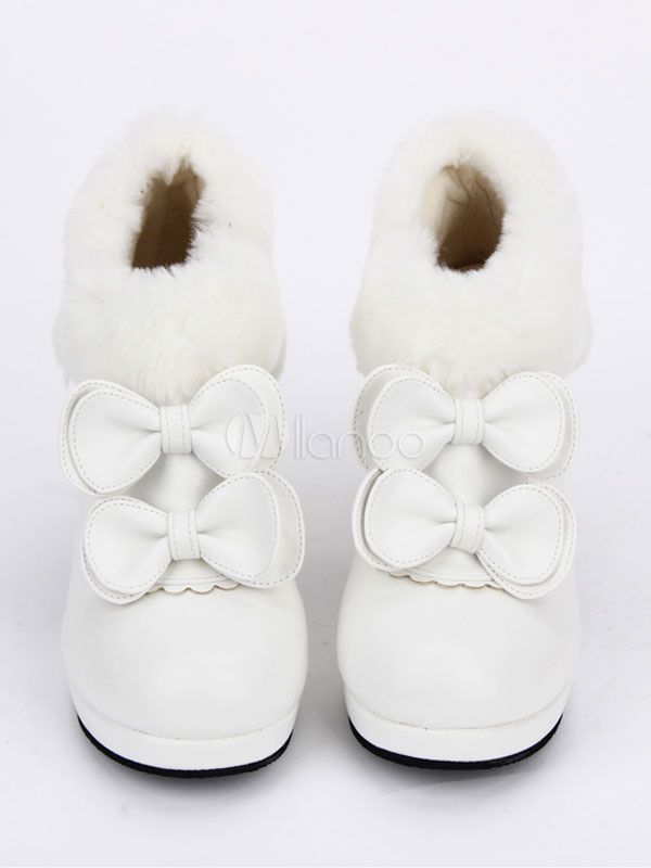 Zapatos de lolita de PU de puntera redonda con lazo blancos estilo street wear kPCG0