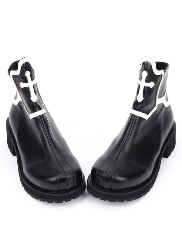 2019 prezzo all'ingrosso seleziona per il più recente design innovativo Gothic Lolita scarpe nero tacco piattaforma Cross Stivali Lolita