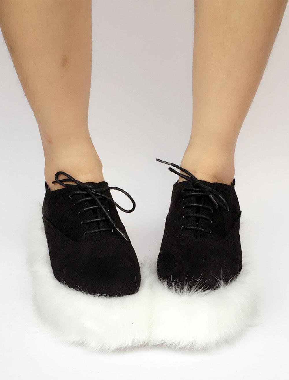 Sweet Lolita Shoes Faux Fur Sole Two Tone Lace Up Lolita Pumps