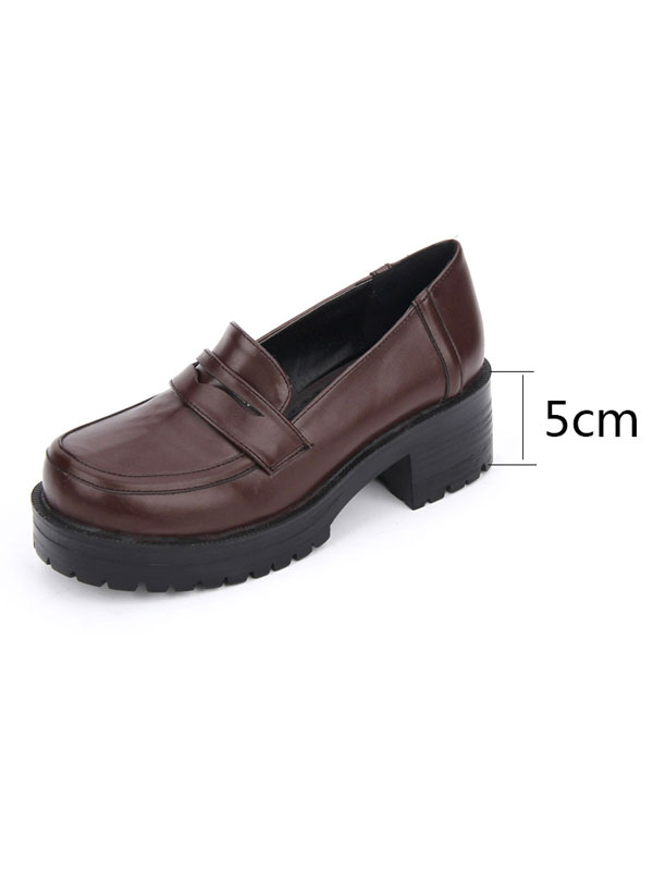 Zapatos de lolita de PU de puntera redonda Color liso de marrón oscuro estilo street wear nlipgm