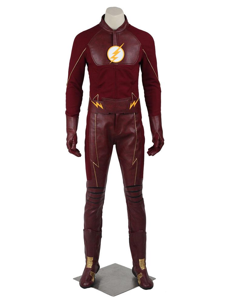 comprare a buon mercato qualità incredibile grande vendita Il Flash stagione 2 Barry Allen Costume Cosplay guanti&top&cappello&cintura  set Fumetti Americani Carnevale