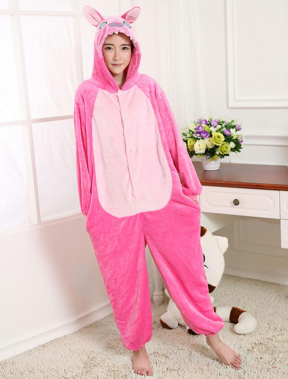 ... Kigurumi Pajama Stitch Onesie Pink Flannel Anime Sleepwear For Adult  Back With Zipper Halloween-No ... b747982b9
