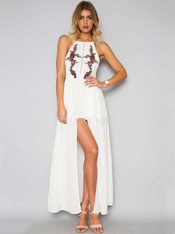 Buy White Maxi Dress Boho Chiffon Embroidered Halter Women's Summer Beach Long Dress for $35.99 in Milanoo store